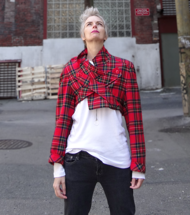 Bag and a Beret, upcycled tartan jacket by Melanie Kobayashi