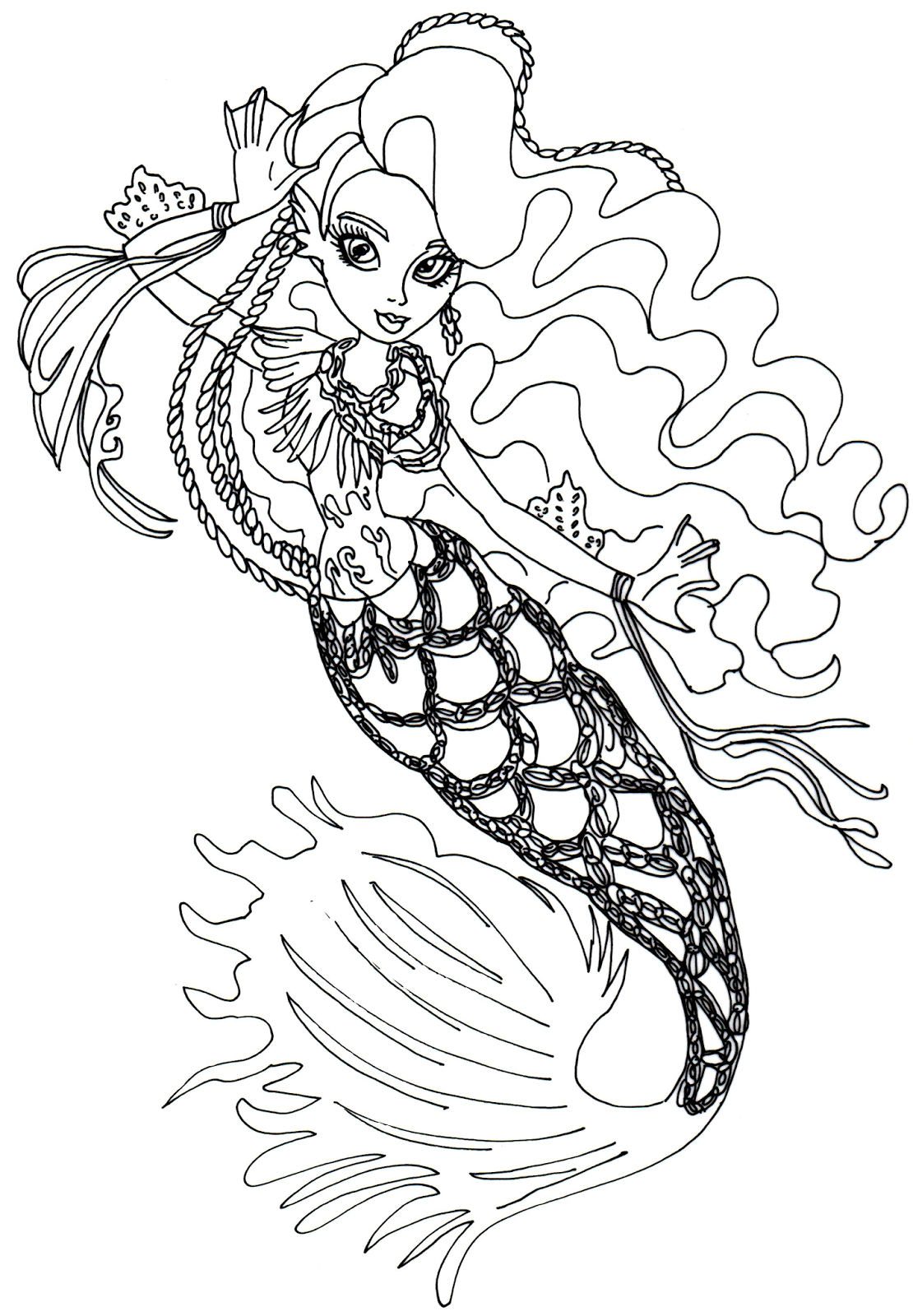 free printable monster high coloring page for sirena von boo in her basic outfit - Monster High Coloring Pages