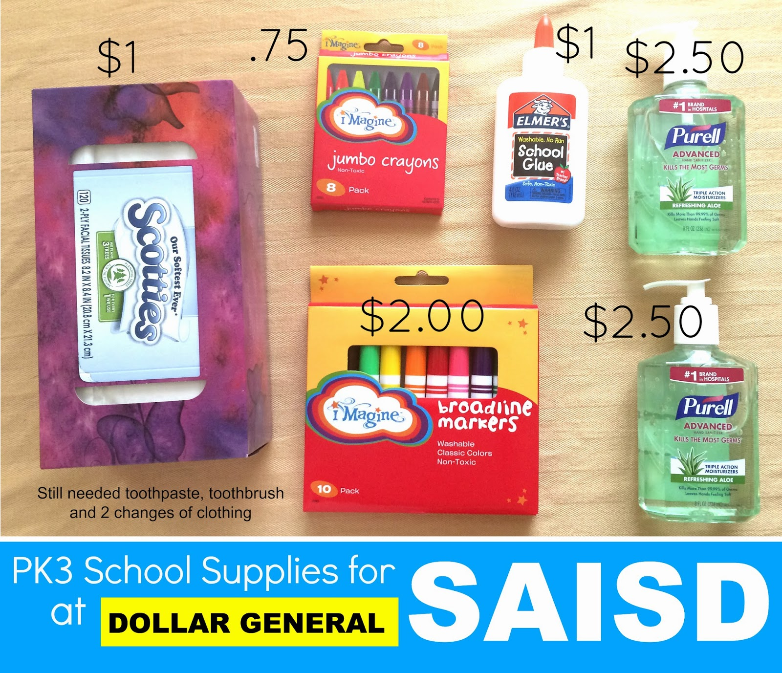 PK3 School Supplies for SAISD at Dollar General