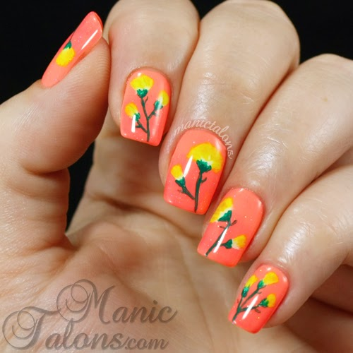 Gelaze Gel Polish, Floral nail art