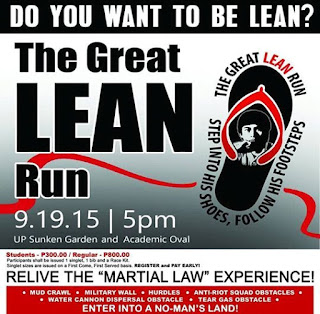 LEAN Run, run event, 3.7 km, 2015 run, Up diliman, university philippines, martial law, acad oval