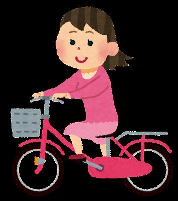 自転車に乗る女性のイラスト