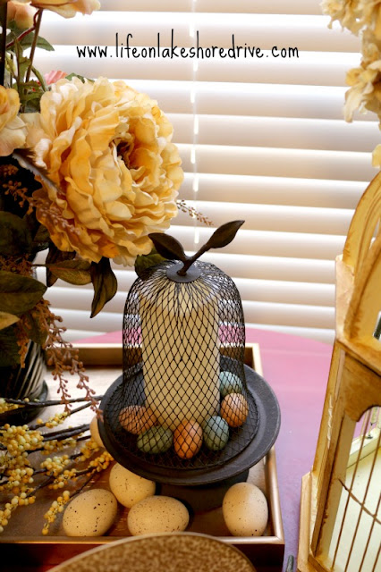 Spring decor, cloche, eggs, floral
