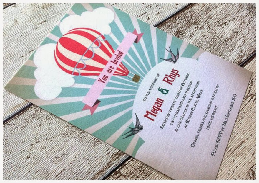 Balloon themed wedding invitations