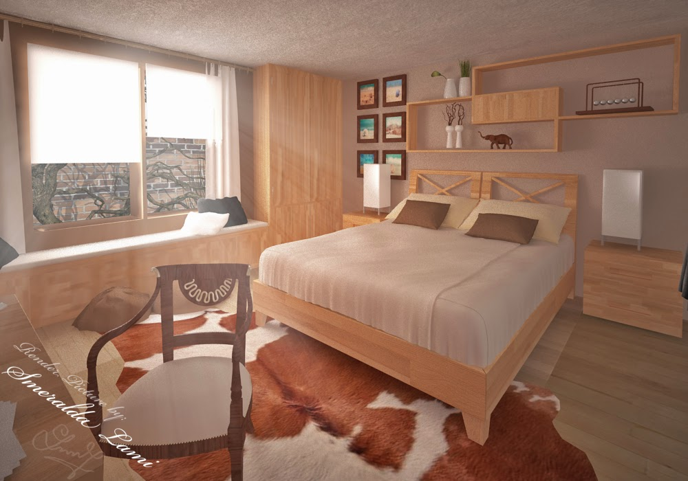 earthy wooden bedroom render made by smeralda lami