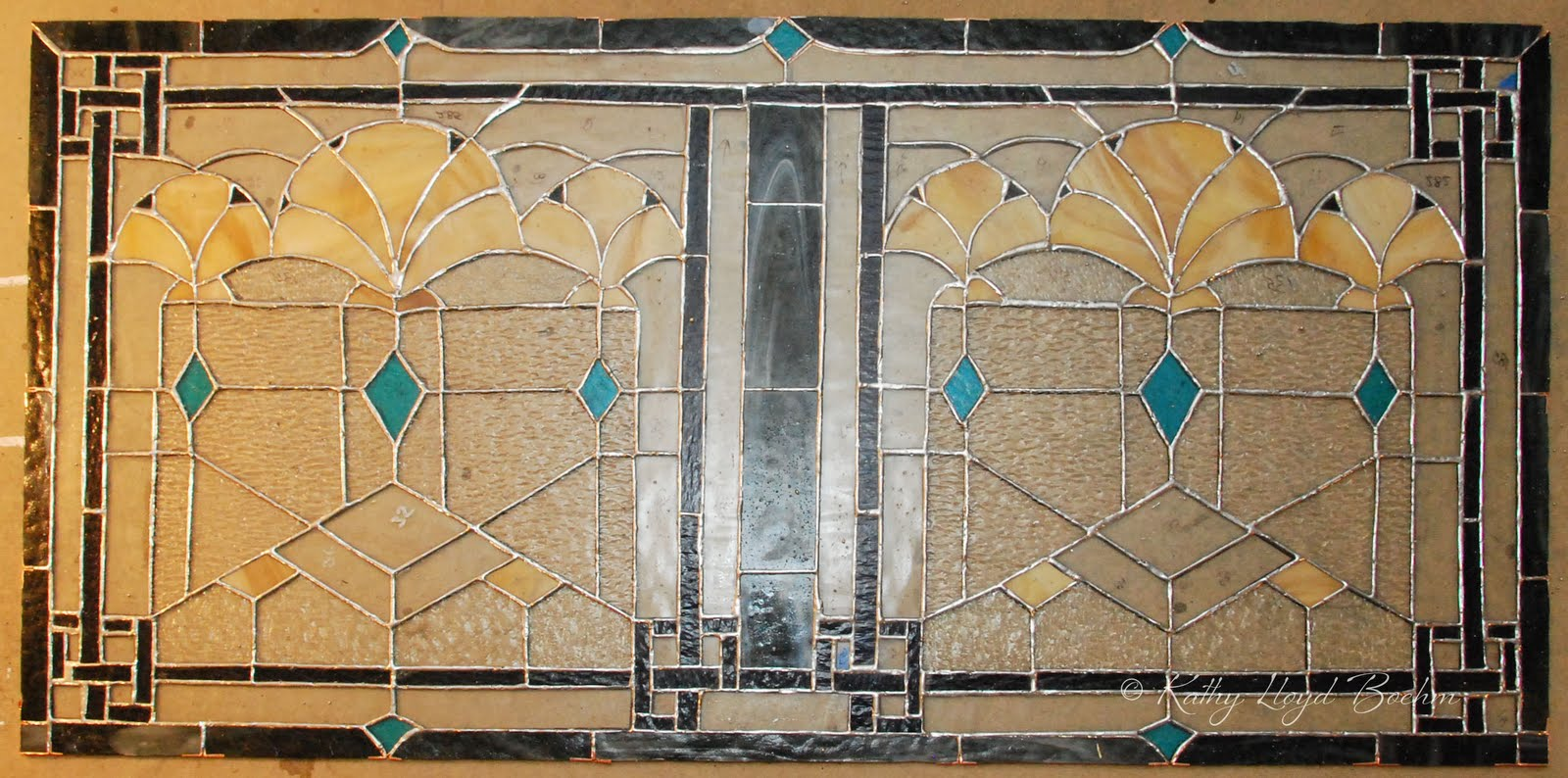 Boehm stained glass blog art deco window soldered for Art deco glass windows
