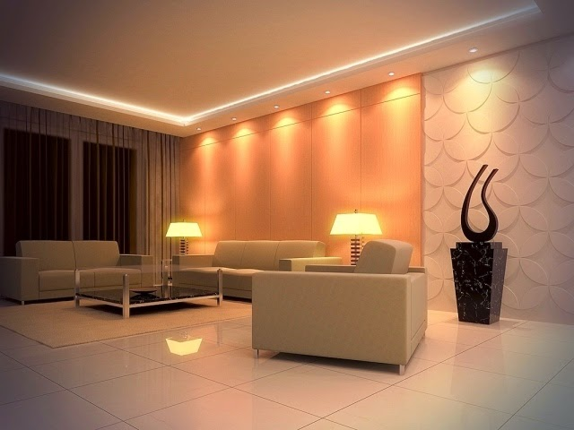 Stunning false ceiling led lights and wall lighting for Wall light living room ideas