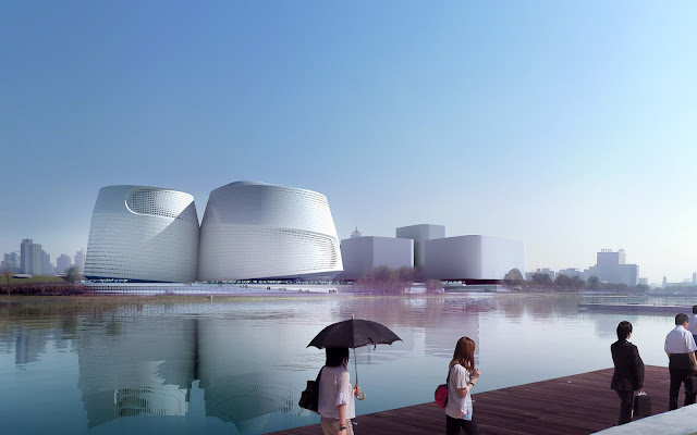 Photo of museum at daylight as seen from across the river