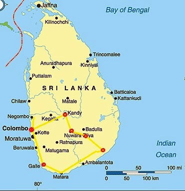 Sri Lanka Route Map