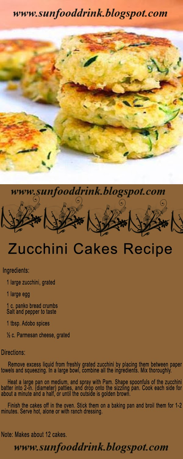 Zucchini Cakes Recipe Ingredients:   1 large zucchini, grated 1 large egg 1 c. panko bread crumbs Salt and pepper to taste 1 tbsp. Adobo spices ½ c. Parmesan cheese, grated Directions:  Remove excess liquid from freshly grated zucchini by placing them between paper towels and squeezing. In a large bowl, combine all the ingredients. Mix thoroughly.  Heat a large pan on medium, and spray with Pam. Shape spoonfuls of the zucchini batter into 2-in. (diameter) patties, and drop onto the sizzling pan. Cook each side for about a minute and a half, or until the outside is golden brown.  Finish the cakes off in the oven. Stick them on a baking pan and broil them for 1-2 minutes. Serve hot, alone or with ranch dressing. Note: Makes about 12 cakes.