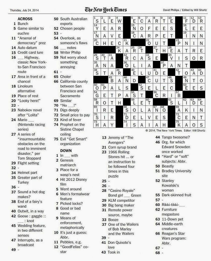 07.24.14 u2014 Paint IT Black  sc 1 st  The New York Times Crossword in Gothic & The New York Times Crossword in Gothic: July 2014 25forcollege.com