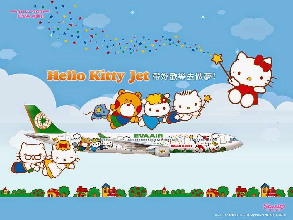 EVA Air Hello Kitty Plane Wallpaper