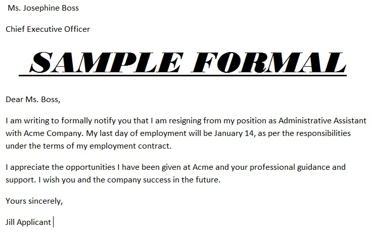 Formal resignation letter template resignation letter picture resignation letter format resignation spiritdancerdesigns Image collections