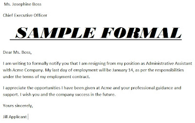 example resignation letter format