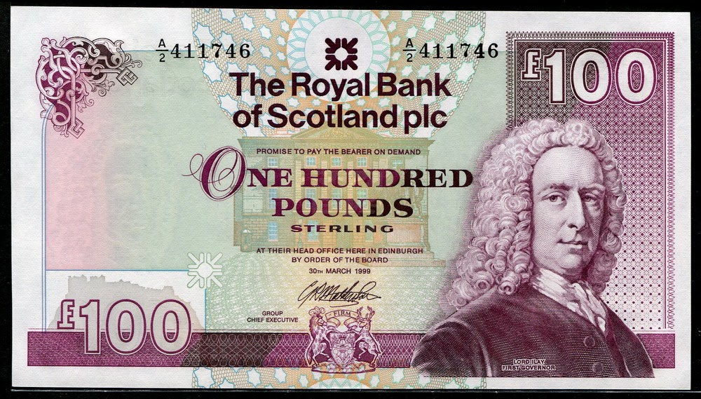 the royal bank of scotland banknotes 100 pounds note 1999
