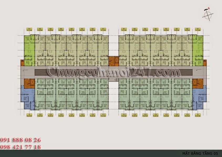 mặt bằng thiết kế tầng 5 chung cư thanh hà cienco 5 hà đông