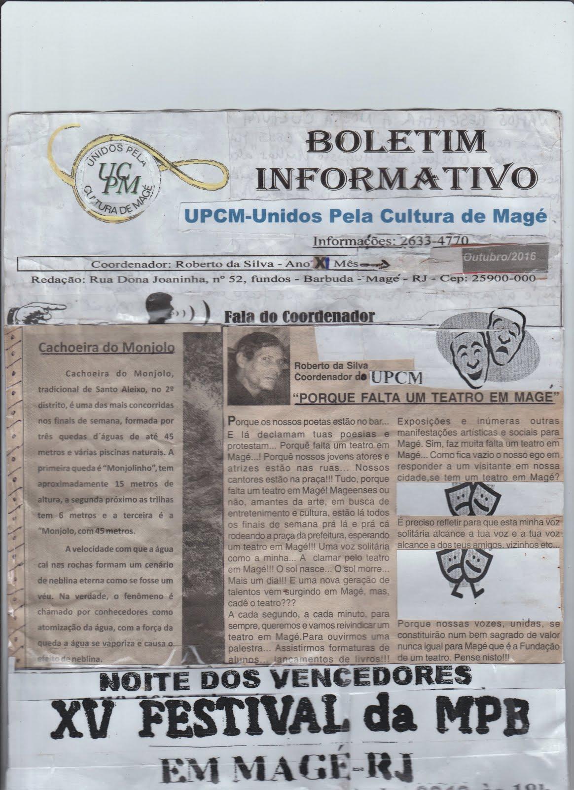 Boletim Informativo do UPCM-Unidos Pela Cultura de Magé