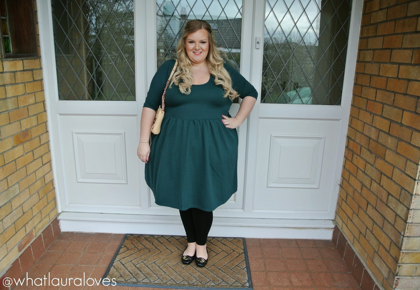 Missguided Plus Size Ribbed Scuba Skater Dress Green Teal Review Blogger