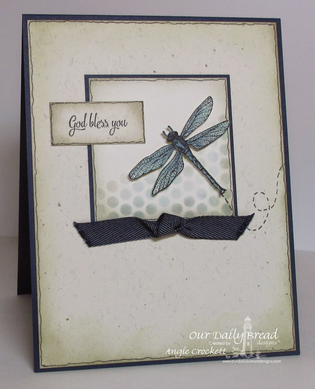 ODBD Dragonfly Single, ODBD Doily Blessings, Card Designer Angie Crockett