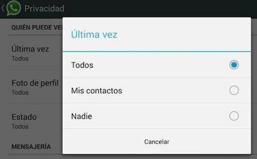 Pantalla de Privacidad de Whatsapp