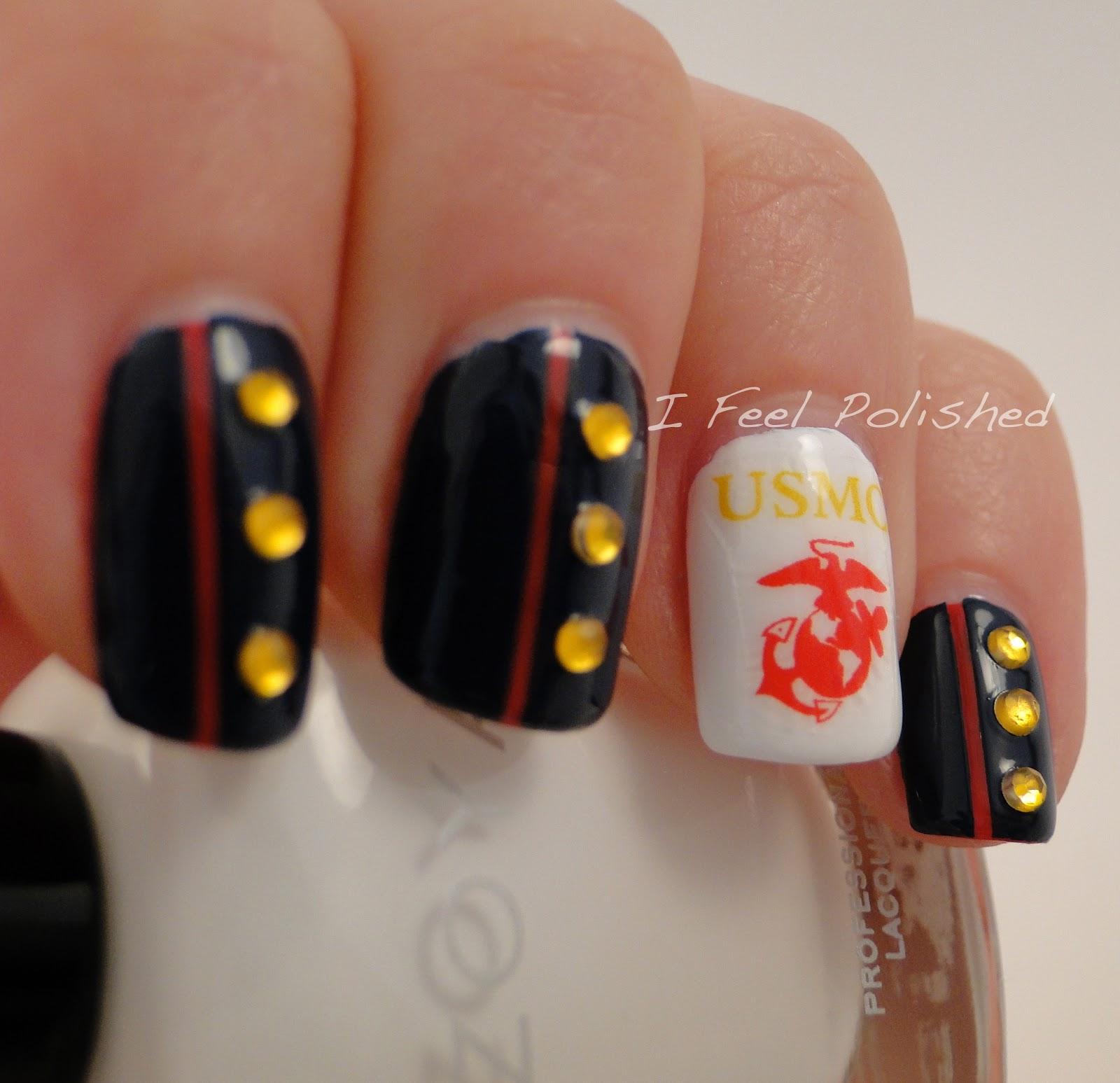 I feel polished happy birthday usmc marine corp birthday nails prinsesfo Images