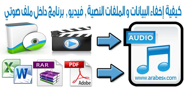 كيفية إخفاء البيانات و الملفات النصية , فيديو , برنامج داخل ملف صوتي