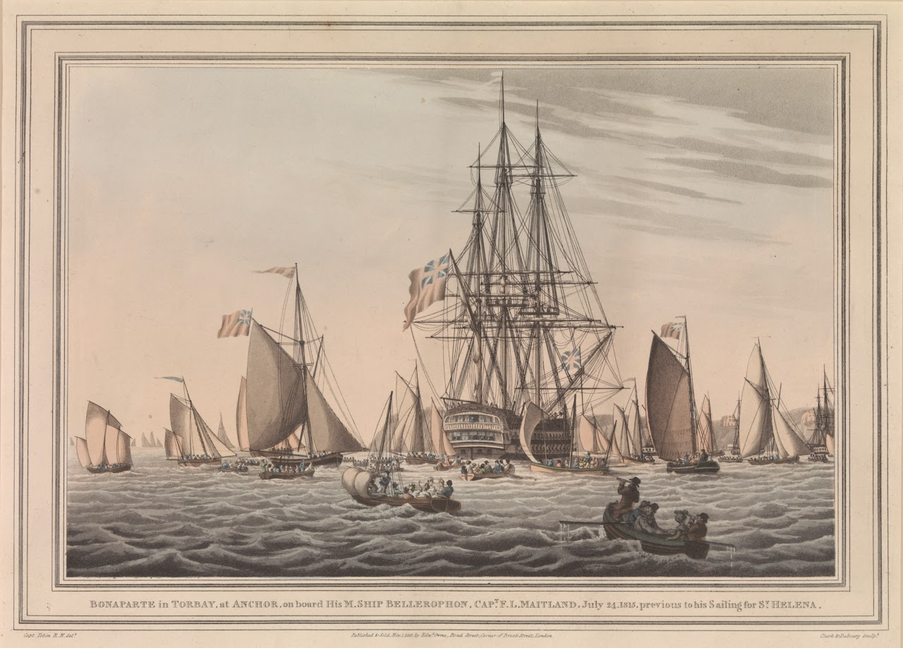 Dawlish Chronicles War Pirate Ship Likewise Rms Titanic Sinking On Tall Diagram George Tobin Napoleon Bonaparte In Torbay At Anchor Hms Bellerophon July 14 1815 National Naval Museum Greenwich London Paf7978