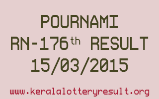 POURNAMI RN 176 Lottery Result 15-3-2015