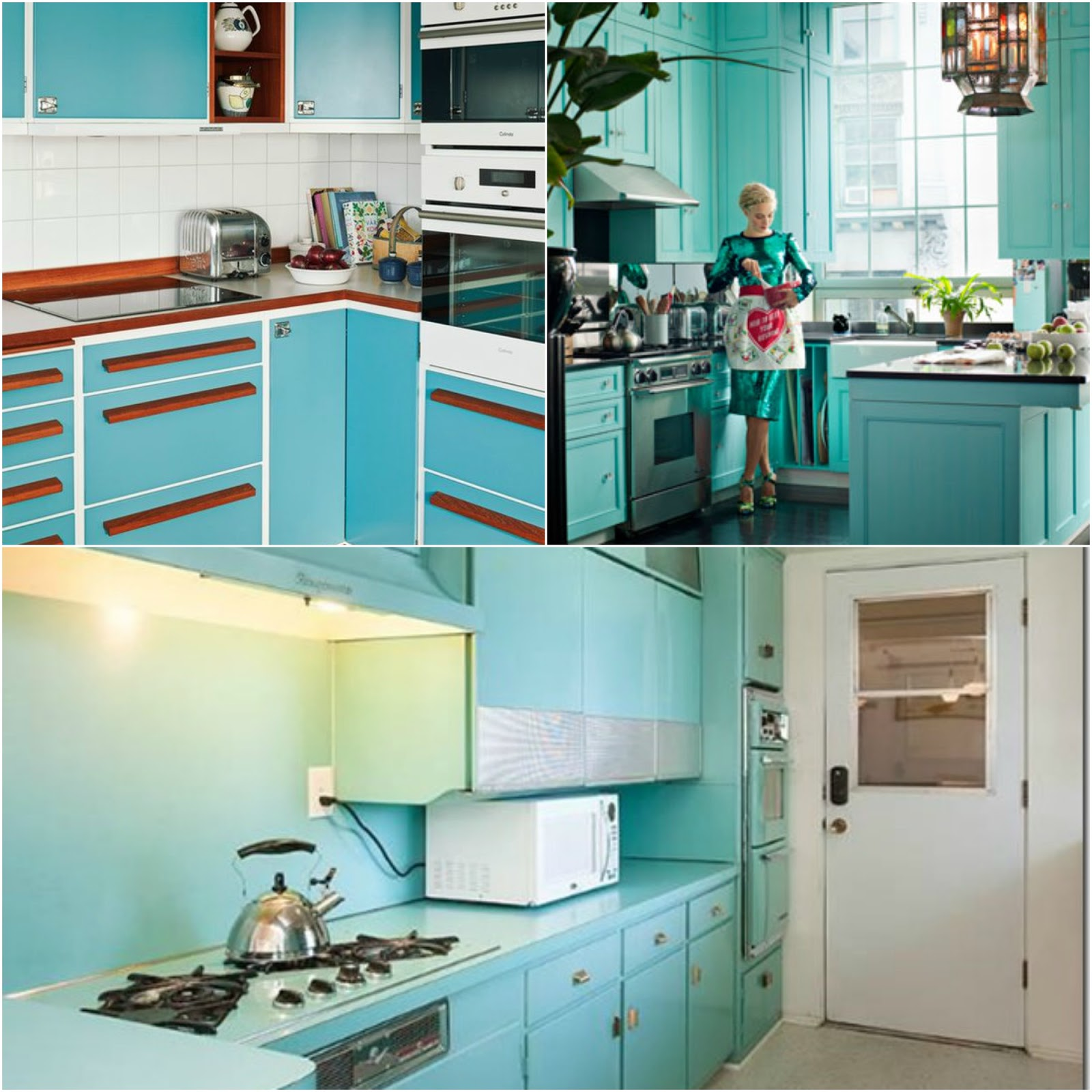 Tasty Turquoise Kitchens | Dans le Lakehouse on turquoise kitchen color ideas, turquoise retro furniture, red retro kitchen ideas, turquoise home decor ideas,