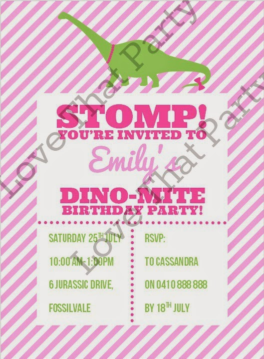 Girl Dinosaur Birthday Party Invitation in pink and green by Love That Party. www.lovethatparty.com.au