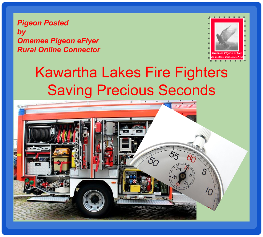 Omemee Pigeon posted Kawartha Lakes Firefighters saving precious seconds dhows fire truck and stop watch on Omemee Pigeon eFlyer branded envelope with pigeon stamp