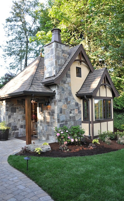 tiny house with stones that look like a castle