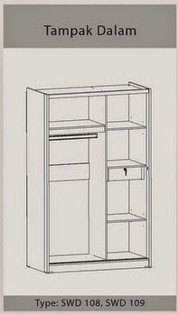 Tampak Dalam Lemari Pakaian Sliding SWD 108 Benefit Furniture