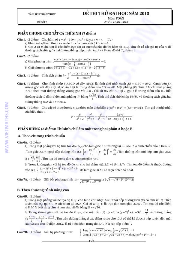 3 Đề thi thử môn Toán 2013 có đáp án của Diễn Đàn K2Pi Dot Net