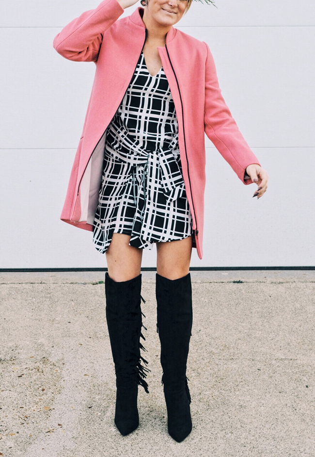 Checkered tie waist dress - pink Zara coat