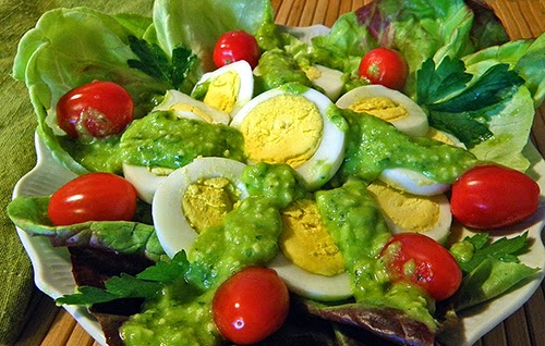 Egg, Tomato, and Lettuce is just one idea for Fava Pesto Salad
