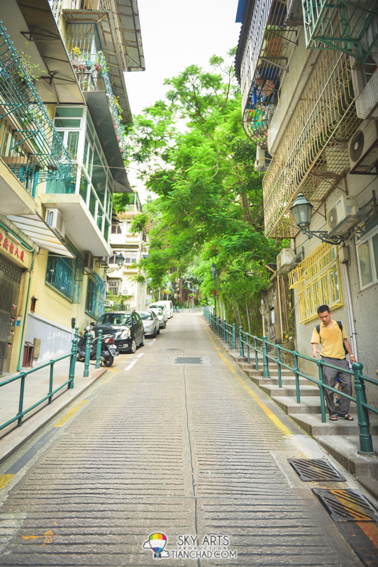 The steepest road nearby Macau Mount Fortress
