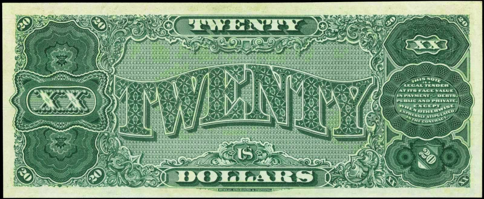 20 US Dollars Treasury or Coin Note, Series of 1890
