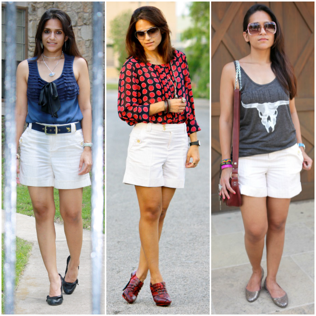 Three Ways To Style Pin Striped Shorts, Tanvii.com