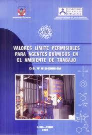 VALORES LIMITE PERMISIBLES PARA AGENTES QUÍMICOS EN EL AMBIENTE DE TRABAJO