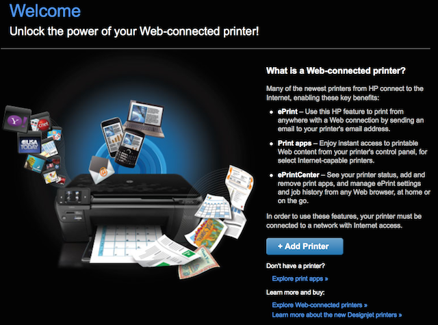 Add and connect your printer on the web