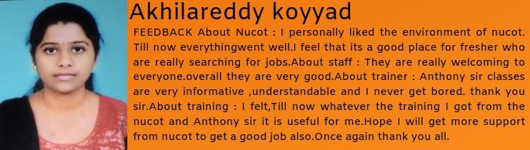 Akhilareddy koyyad- Testimonial / Review About Nucot