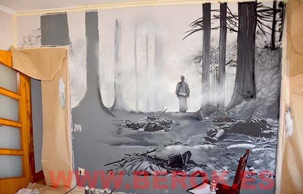 Graffiti de samurais en proceso