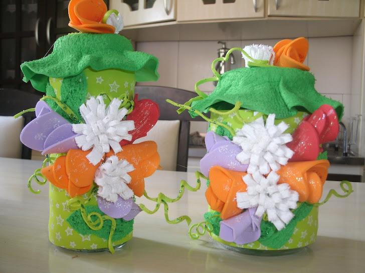 vidros decorados flores de eva