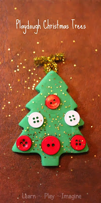 Making playdough Christmas trees to build fine motor skills through festive play