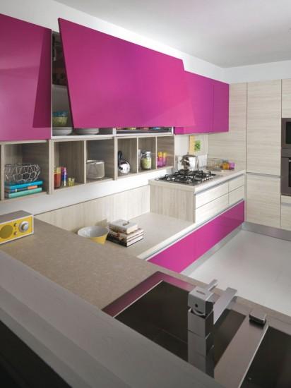 Cocinas que no dejan indiferente a nadie cocinas con estilo - Cocina blanca y fucsia ...