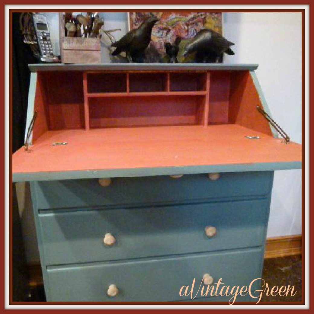 A Vintage Green Painted Furniture Drop Front Desk