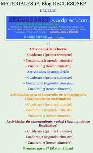 MATERIALES 1º. Blog RECURSOSEP