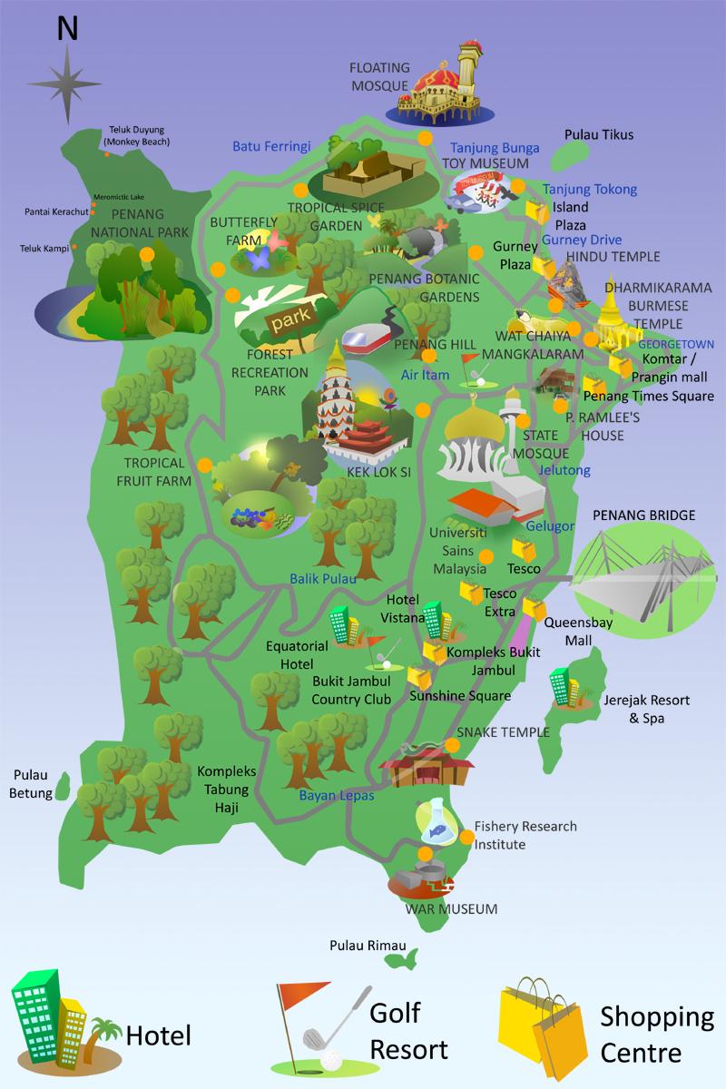 Penang hawker food Penang Hill Map
