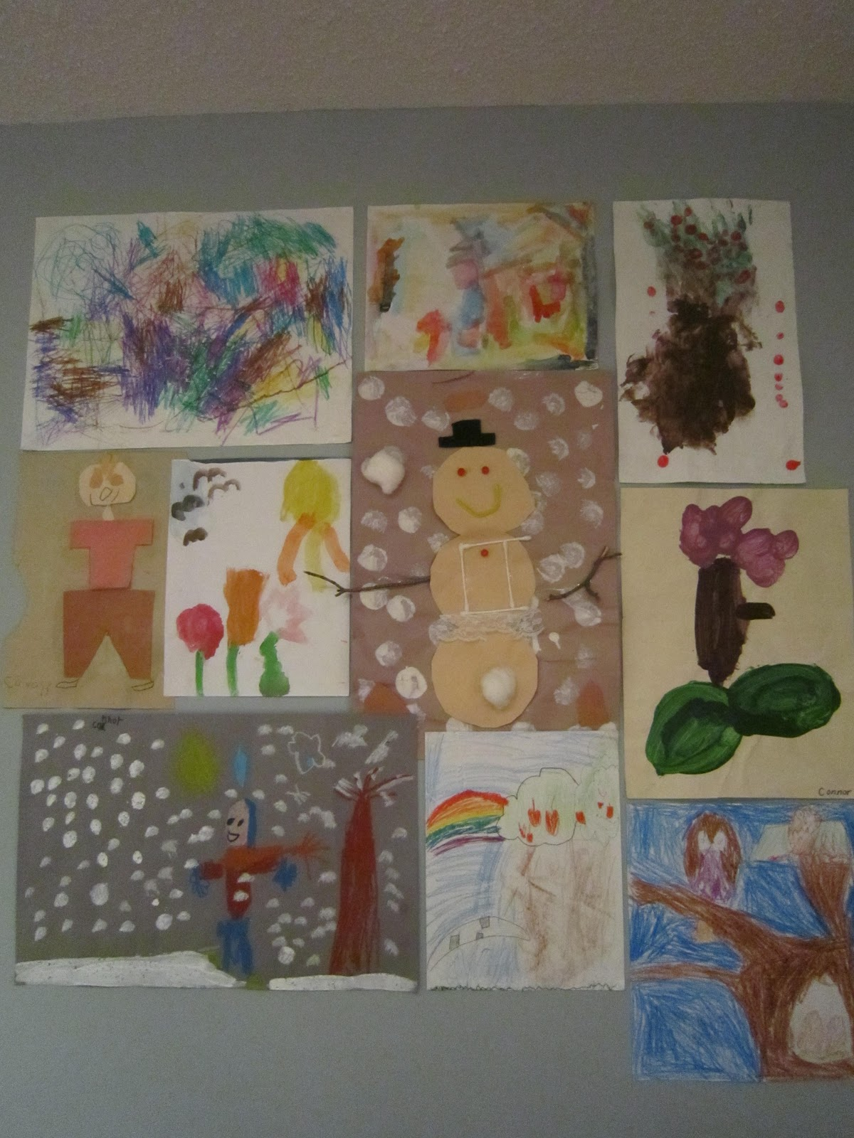 gallery wall, kids' art